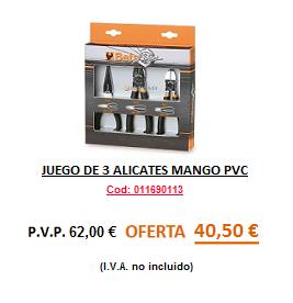 JUEGO DE 3 ALICATES MANGO PVC